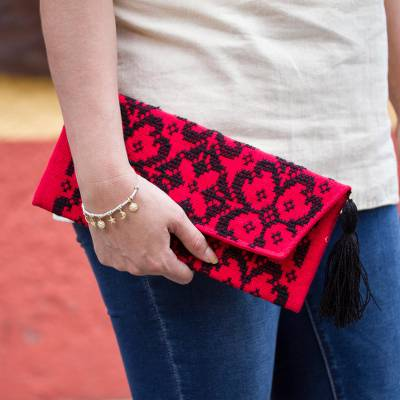 Cotton blend clutch, 'Firelit Garden' - Dramatic Cross-Stitched Black on Red Cotton Blend Clutch