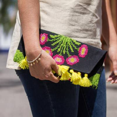 Cotton blend clutch, 'Beautiful Bouquet' - Cross-Stitched Pink Flowers on Black Cotton Blend Clutch