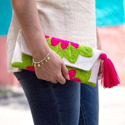 Cotton blend clutch, 'Wrap Around Bloom in Ruby Red' - Embroidered Red Flower on Antique White Cotton Blend Clutch