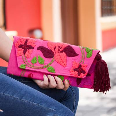 Cotton blend clutch, 'Tropical Blooms' - Fuchsia Floral Embroidered Floral Motif Cotton Blend Clutch