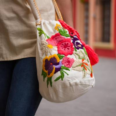 Cotton blend bucket bag, 'Floral Profusion' - Colorful Embroidery on Off-White Cotton Blend Shoulder Bag