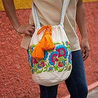 Cotton blend bucket bag, 'Blooming in Blue' - Blue and Red Embroidered Floral Cotton Blend Shoulder Bag