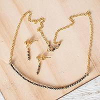 Gold plated pyrite jewelry set, 'Glimmering Light' - Gold Plated Pyrite Jewelry Set from Mexico