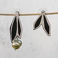 Sterling silver and wood earrings, 'Olive Passion' - Sterling Silver and Wood Olive Leaf Pearl Earrings