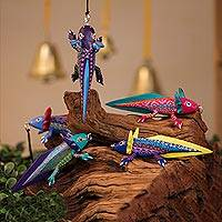 Wood alebrije ornaments, 'Colorful Axolotl' (set of 5) - Hand-Painted Wood Alebrije Axolotl Ornaments (Set of 5)