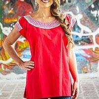 Cotton blouse, 'Crimson Afternoon' - Embroidered Cotton Blouse in Crimson from Mexico