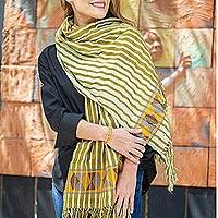 Cotton shawl, 'Zinacatan Paths' - Olive and Lichen Striped Cotton Shawl from Mexico
