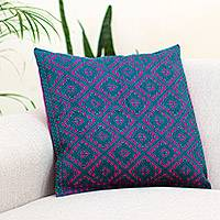 Cotton cushion cover, 'Geometric Metamorphosis' - Viridian and Magenta Cotton Cushion Cover from Mexico