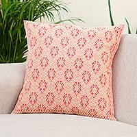 Cotton cushion cover, 'Geometric Mythology' - Ivory and Strawberry Cotton Cushion Cover from Mexico