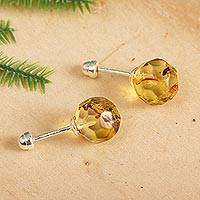 Amber stud earrings, 'Ancient Facets' - Faceted Amber Stud Earrings Crafted in Mexico