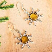 Amber dangle earrings, 'Ancient Suns' - Sun-Themed Amber Dangle Earrings from Mexico