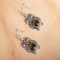 Amber dangle earrings, 'Ancient Owls' - Owl-Themed Amber Dangle Earrings from Mexico
