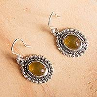 Amber dangle earrings, 'Fascinating Ovals' - Oval Amber Dangle Earrings Crafted in Mexico