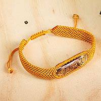 Amber wristband bracelet, 'Age-Old Elegance in Saffron' - Amber Wristband Bracelet with Saffron Cord from Mexico