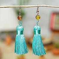 Amber dangle earrings, 'Ancient Tassels in Aqua' - Amber Dangle Earrings with Aqua Tassels from Mexico