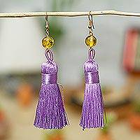 Amber dangle earrings, 'Ancient Tassels in Lilac' - Amber Dangle Earrings with Purple Tassels from Mexico