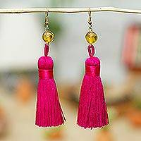 Amber dangle earrings, 'Ancient Tassels in Cerise' - Amber Dangle Earrings with Cerise Tassels from Mexico