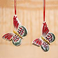 Ceramic ornaments, 'Lively Butterfly' (pair) - Red and Green Ceramic Butterfly Ornaments from Mexico (Pair)