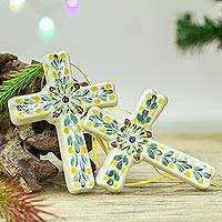 Ceramic ornaments, 'Cross of Spring' (pair) - Hand-Painted Ceramic Cross Ornaments from Mexico (Pair)