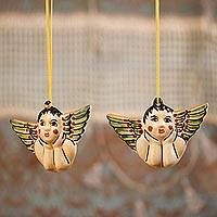 Ceramic ornaments, 'Rosy-Cheeked Angels' (pair) - Ceramic Angel Ornaments Crafted in Mexico (Pair)