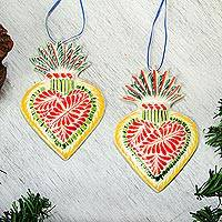 Ceramic ornaments, 'Sacred Hearts' (pair) - Hand-Painted Ceramic Sacred Heart Ornaments (Pair)
