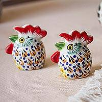 Ceramic salt and pepper shakers, 'Farm Roosters' (pair) - Hand-Painted Ceramic Rooster Salt and Pepper Shakers (Pair)