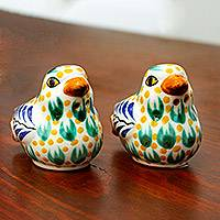Ceramic salt and pepper shakers, 'Sweet Doves' (pair) - Majolica Ceramic Dove Salt and Pepper Shakers (Pair)