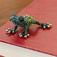 Bronze figurine, 'Verdant Frog' - Hand-Painted Bronze Frog Figurine by a Mexican Artist