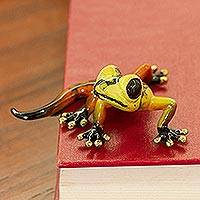 Bronze figurine, 'Sunny Salamander' - Orange and Yellow Bronze Salamander Figurine from Mexico