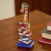 Ceramic and resin sculpture, 'Studious Giraffe' - Hand-Painted Ceramic and Resin Reading Giraffe Sculpture