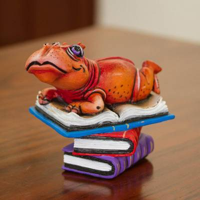 Ceramic sculpture, 'Reading Hippo' - Hand-Painted Ceramic Reading Hippo Sculpture from Mexico