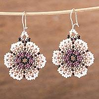 Glass beaded dangle earrings, 'Cool Bloom' - Floral Glass Beaded Dangle Earrings from Mexico