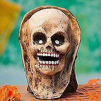 Recycled papier mache mask, 'Brown Skull' - Recycled Papier Mache Skull Mask in Brown from Mexico