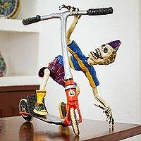 Recycled papier mache sculpture, 'Scooter Kid' - Recycled Papier Mache Sculpture of a Skeleton on a Scooter