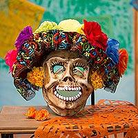 Recycled papier mache mask, 'Sweet Calavera' - Recycled Papier Mache Calavera Mask from Mexico