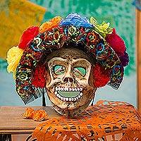 Recycled papier mache mask, 'Smiling Catrina' - Floral Catrina Recycled Papier Mache Mask from Mexico