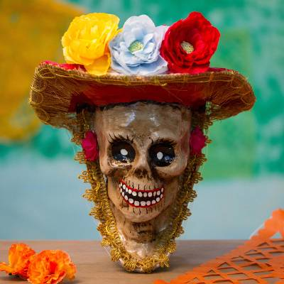 Recycled papier mache mask, 'Autumnal Catrina' - Floral Catrina Recycled Papier Mache Mask from Mexico