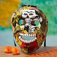 Recycled papier mache mask, 'Frida Skull' - Frida-Themed Recycled Papier Mache Skull Mask from Mexico