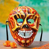 Recycled papier mache mask, 'Fiery Calavera' - Fiery Recycled Papier Mache Skull Mask from Mexico