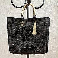 Leather accented plastic tote, 'Ebony Pattern' - Patterned Ebony Leather Accented Plastic Tote from Mexico
