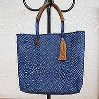 Leather accented plastic tote, 'Prussian Blue Pattern' - Patterned Prussian Blue Leather Accented Plastic Tote