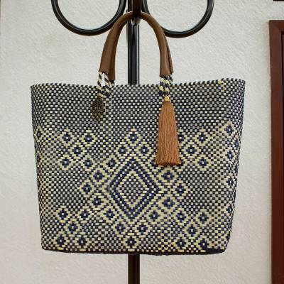 Leather accent handwoven tote, 'Vanilla Geometry' - Vanilla and Navy Leather Accent Handwoven Tote from Mexico
