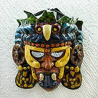 Recycled papier mache mask, 'Eagle Warrior' - Recycled Papier Mache Eagle Warrior Mask from Mexico