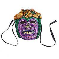 Recycled papier mache mask, 'Festive Tlaloc' - Hand-Painted Recycled Papier Mache Mask from Mexico