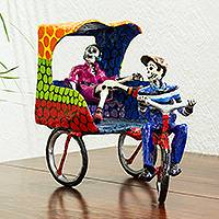 Papier mache sculpture, 'Bicitaxi' - Mexican Folk Art Papier Mache Sculpture