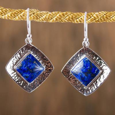Lapis lazuli dangle earrings, 'Lapis Mirrors' - Square Lapis Lazuli Dangle Earrings from Mexico