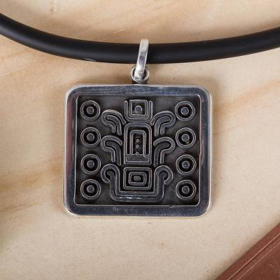 Men's sterling silver pendant necklace, 'Succession of Leaders' - Men's Nahua-Themed Taxco Sterling Silver Pendant Necklace