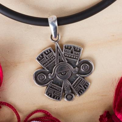 Men's sterling silver pendant necklace, 'Pre-Hispanic Eye' - Men's Eye Motif Sterling Silver Pendant Necklace from Mexico