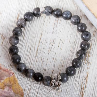 Agate beaded stretch bracelet, 'Grey Succulent Cactus' - Taxco Grey Agate Cactus Beaded Stretch Bracelet from Mexico