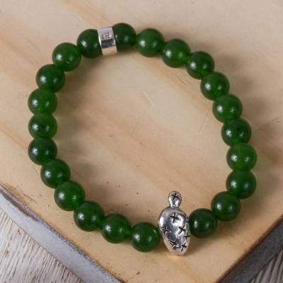 Agate beaded stretch bracelet, Green Succulent Prickly Pear